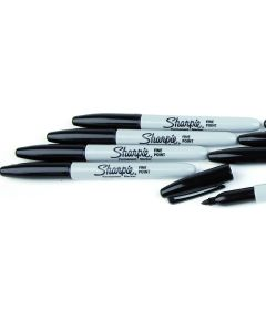 Fine Sharpie Markers. Black. Pack of 12