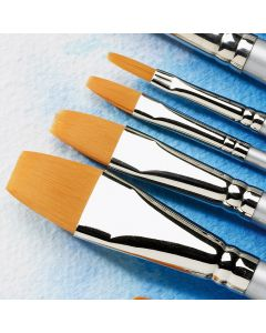 Specialist Crafts Premium Short Handled Synthetic Watercolour Flat Brushes