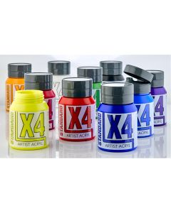X4 Standard Acryl 500ml Assorted Colours - Set of 10