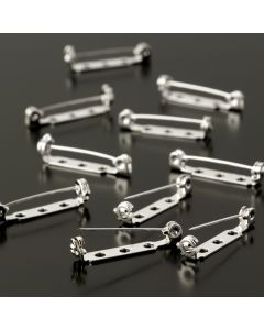 Brooch Pins Nickel Plated. 27mm. Pack of 10